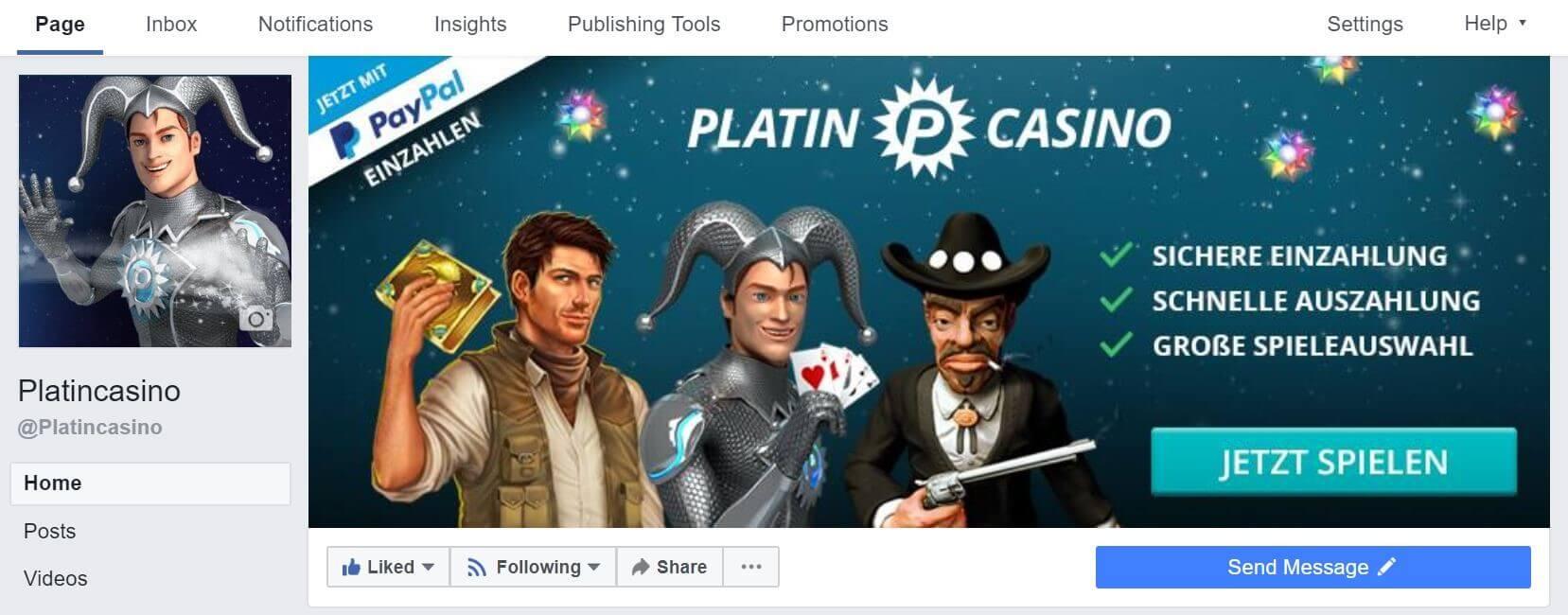 Platincasino Facebook Cover Photo