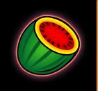 Melone, Erdbeere, Pflaume, Traube