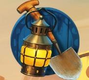 Schaufel und Lampe