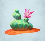 Dunkelgrüner Kaktus