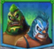 Tag-Team Blauer und grüner Wrestler