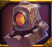Oranger Roboterkopf